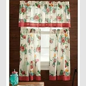 pioneer woman country garden 3 pc curtain set