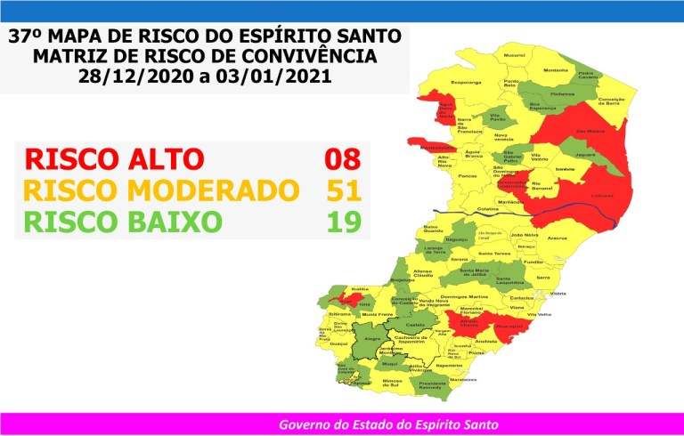 Mapa de Risco: Guarapari e Irupi são classificadas como Risco Alto