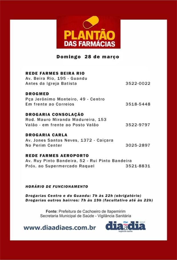 Veja as farmácias de plantão em Cachoeiro neste domingo, dia 28