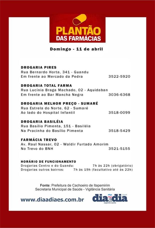 Veja as farmácias de plantão em Cachoeiro neste domingo, dia 11