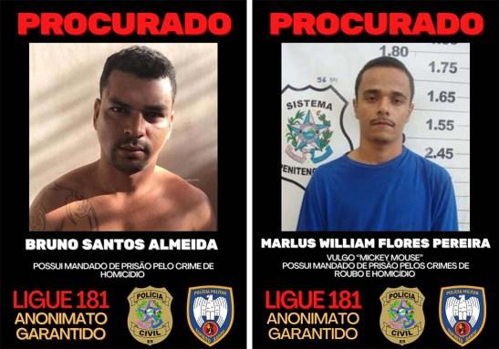 Polícia divulga lista de 5 foragidos da Justiça suspeitos de vários crimes