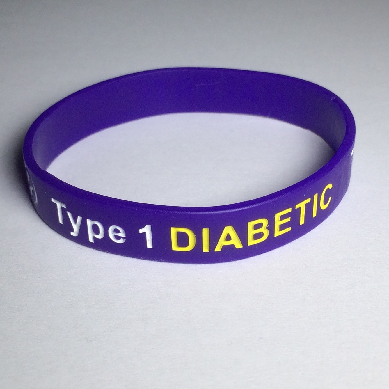 Type 1 Diabetic medical ID wristband.