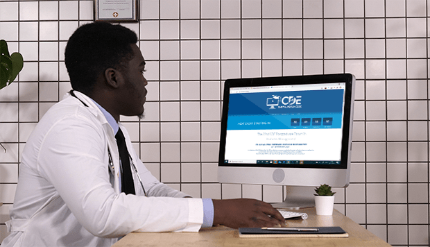 Doctor learning about diabetes at the CDE online forum during the COVID-19 pandemic