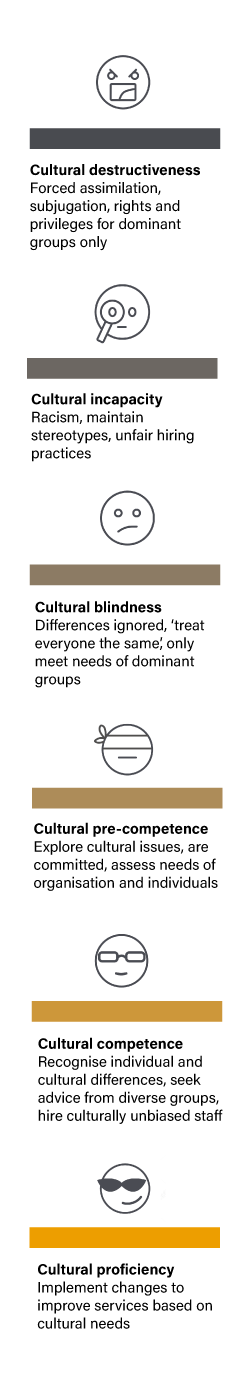an illustration of the cultural competence continuum, including cultural destructiveness, cultural incapacity, cultural blindness, cultural pre-competence, cultural competence, cultural proficiency