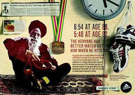 """Fauja Singh - Adidas sponsors him. """"Nothing Is Impossible"""" Adidas' sign-board2005"""