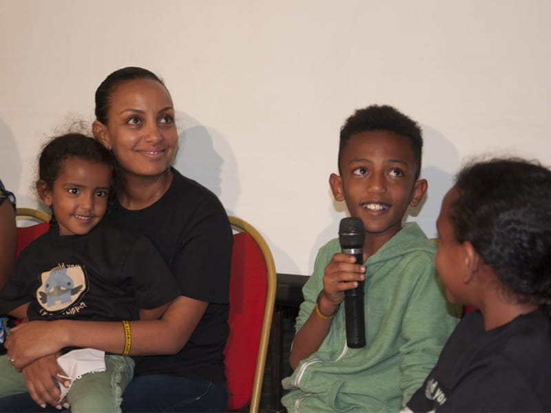 Young boy with diabetes speaking at the LFAC workshop in Ethiopia