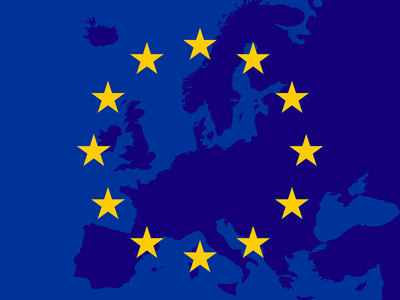 European Union map with stars
