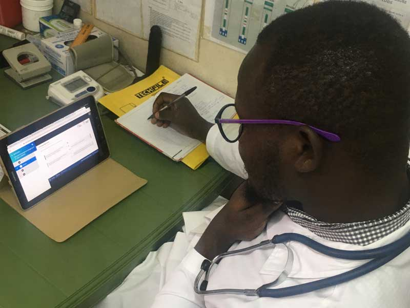 A health professional in Kenya taking the online training