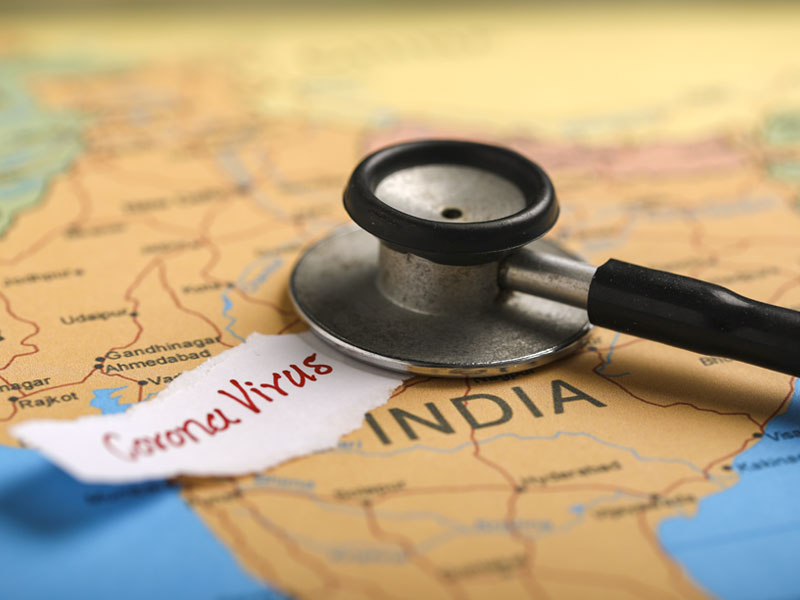Indian map marked with stethoscope
