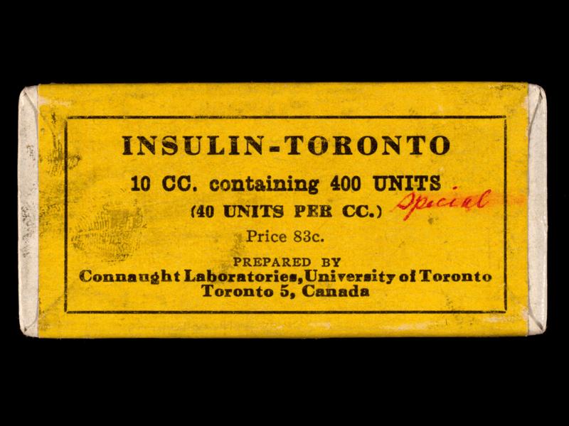 Bottle of insulin in wooden box