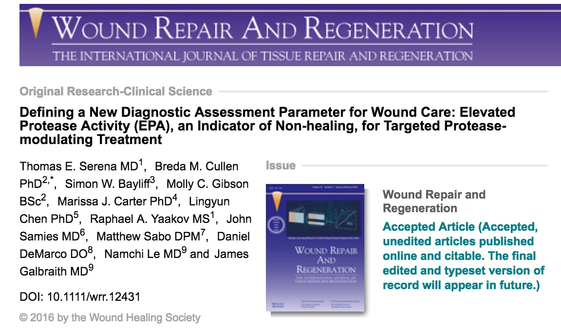 Defining a New Diagnostic Assessment Parameter for Wound Care: Elevated Protease Activity (EPA)