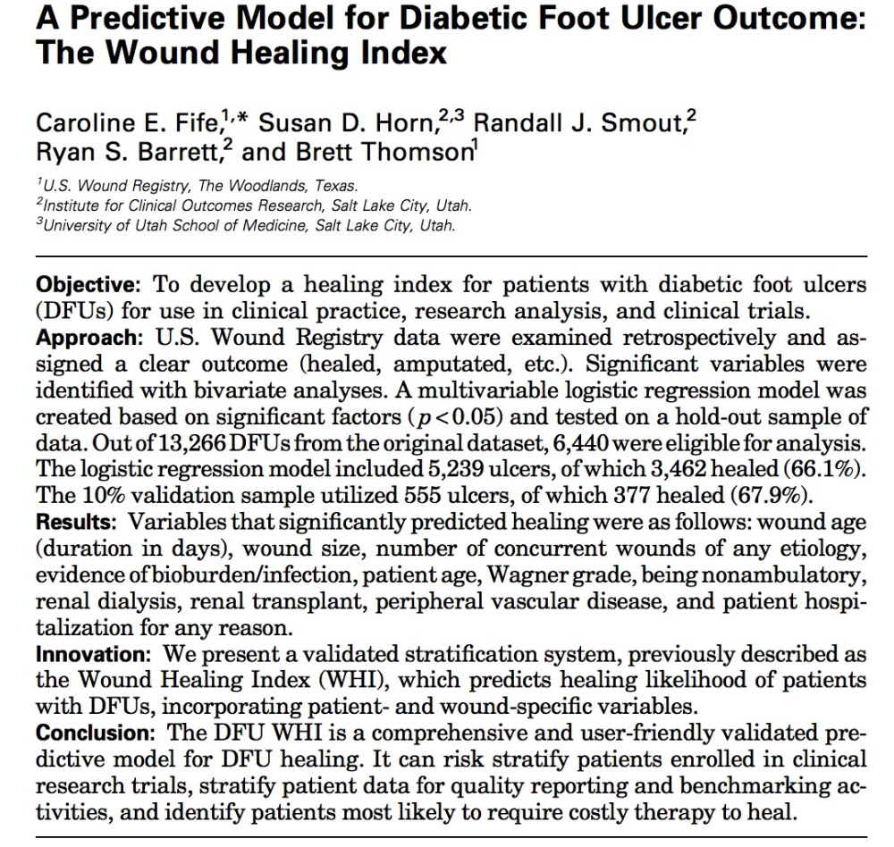 A Predictive Model for Diabetic Foot Ulcer Outcome? The Wound Healing Index