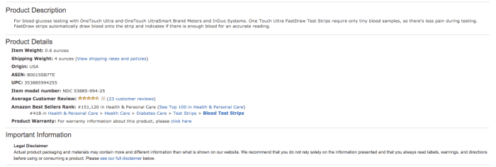 Amazon-listing-of-Onetouch-ultra-test-srips-product-description