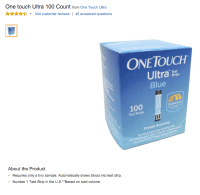 Amazon-prime-listing-for-onetouch-ultra-test-strips-100ct