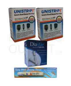 UNISTRIP1 + EASYTEST II LANCETS + EASY MINI LANCING DEVICE