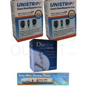 Unistrip-test-strips-diastar-ii-lancets-easymini-lancing-device