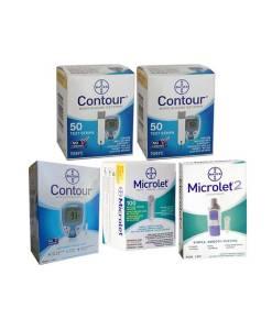CONTOUR + MICROLET LANCETS + CONTOUR METER + MICROLET2 LANCING DEVICE