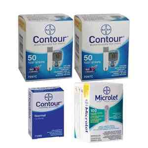 Bayer-contour-test-strips-microlet-lancets-contour-control-solution-normal-