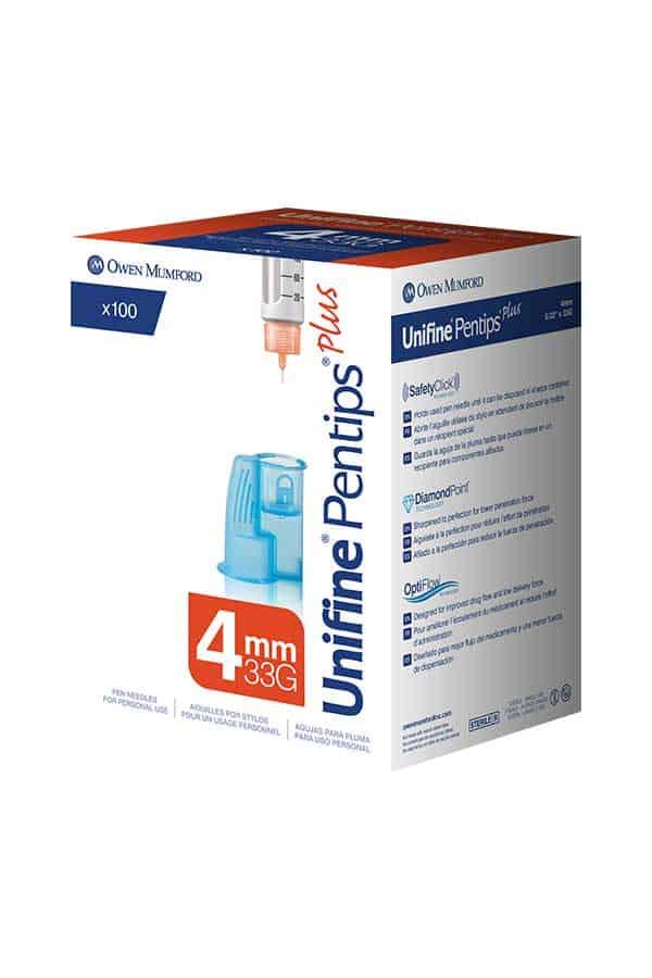 OWEN MUMFORD UNIFINE PENTIPS PLUS INSULIN PEN NEEDLES 100/BOX BUILT-IN  REMOVER