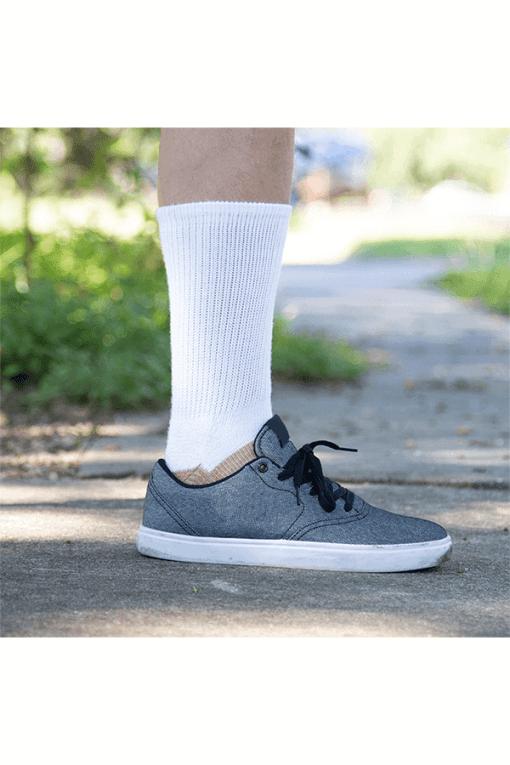 diabetic socks full crew glucology copper socks white
