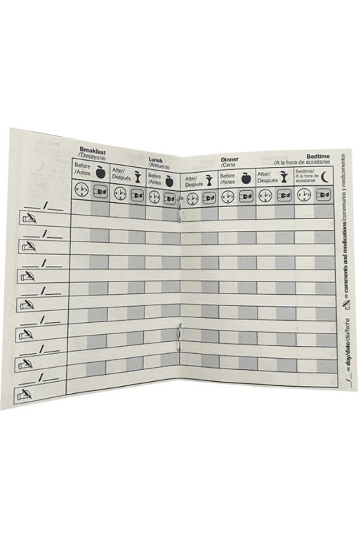 accu-chek self-testing logbook inside