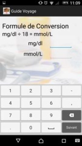 convertisseur, diabète, app, voyage, mg/dL, mmol/L