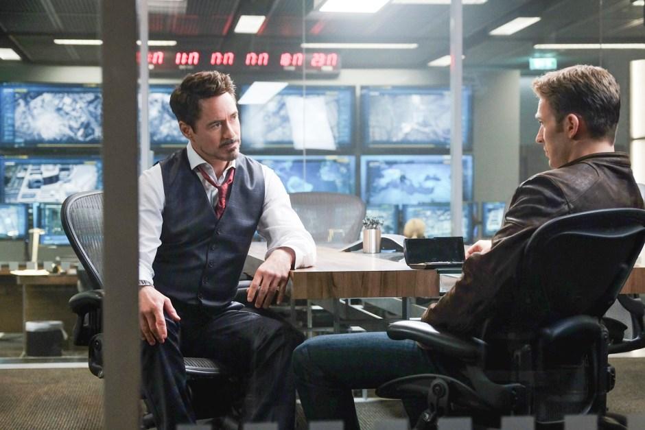 Marvel's Captain America: Civil War L to R: Tony Stark/Iron Man (Robert Downey Jr.) and Steve Rogers/Captain America (Chris Evans) Photo Credit: Zade Rosenthal © Marvel 2016