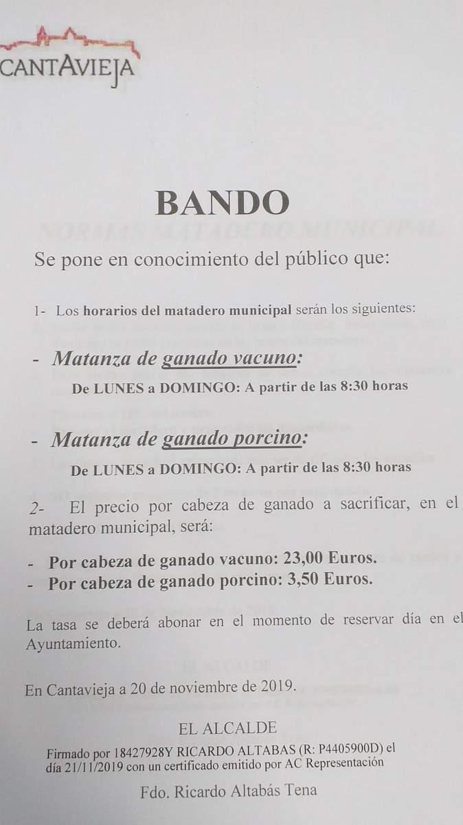 Bando con horarios y tarifas del matadero de Cantavieja