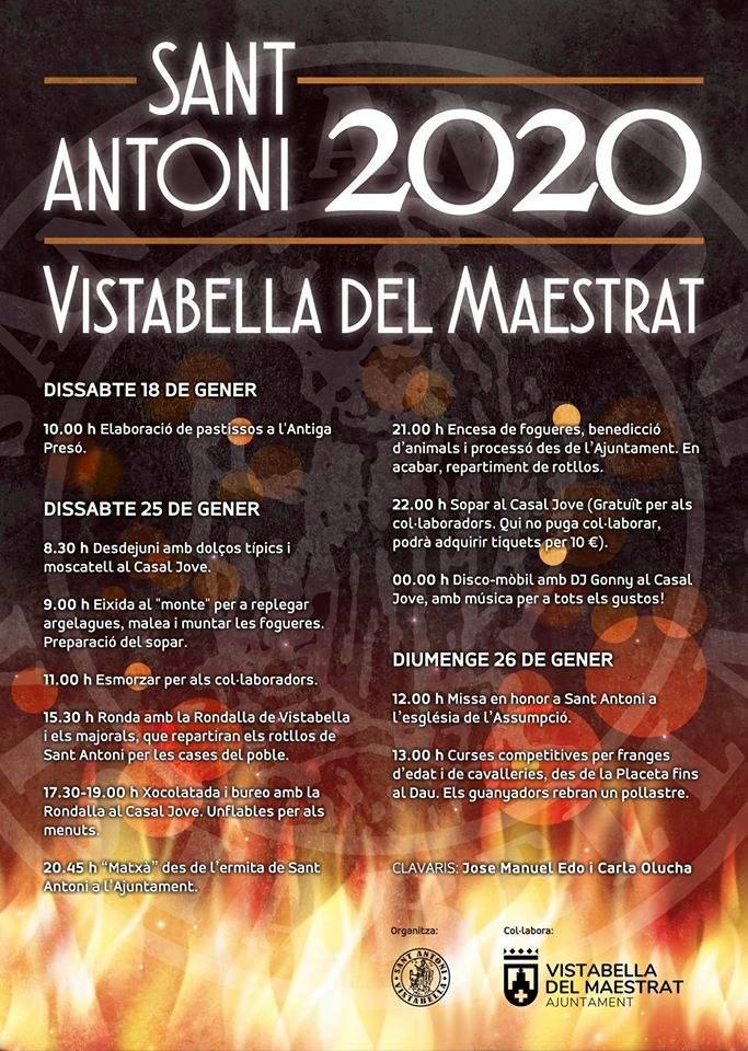 Cartell de Sant Antoni 2020 a Vistabella