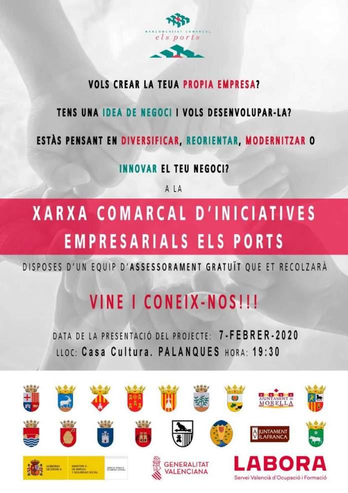 Cartell de la Xarxa comarcal d'iniciatives empresarials dels Ports