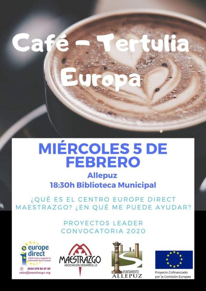 Cartel del café-tertulia en Allepuz del Centro Europe Direct