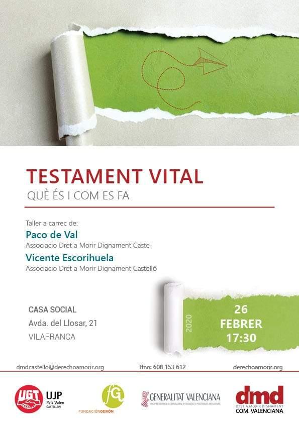 Cartell del taller de Testament vital a Vilafranca
