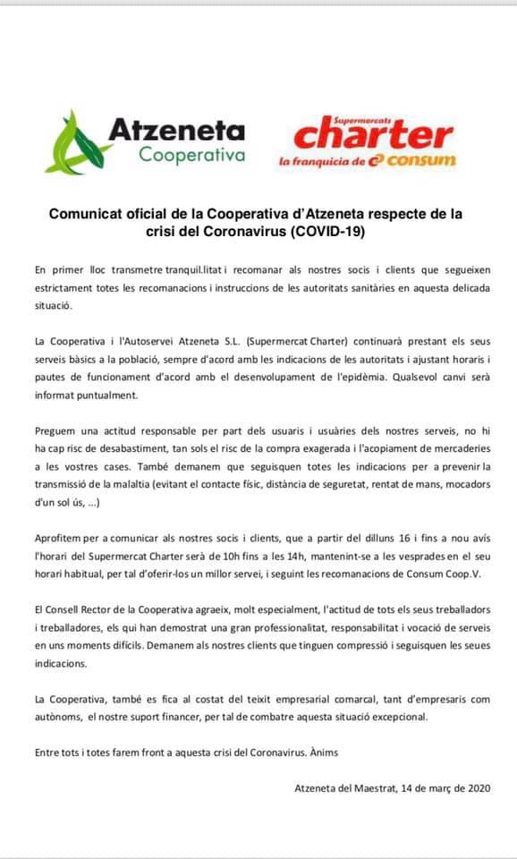 Comunicat de la cooperativa d'Atzeneta