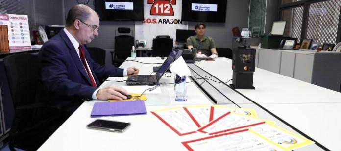 Javier Lambán en la videoconferencia