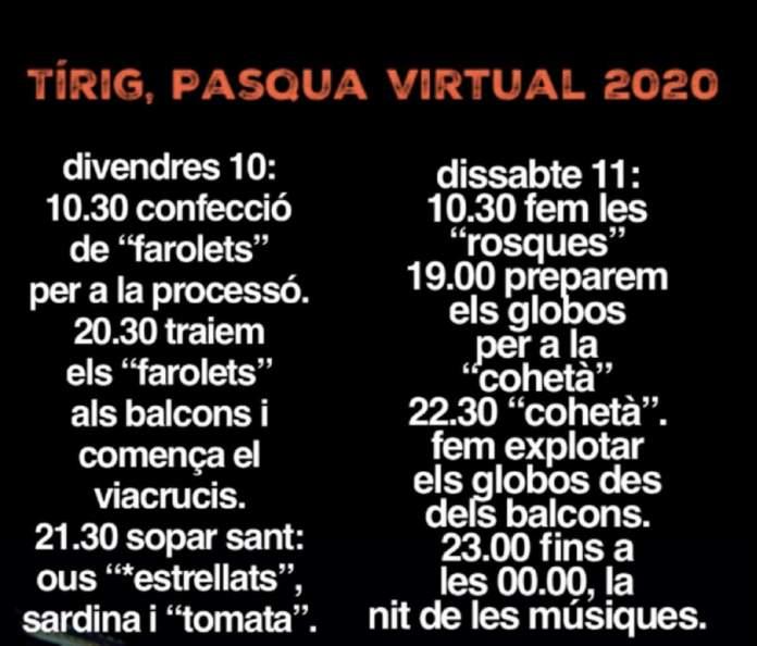 Programa de la Pasqua virtual a Tírig