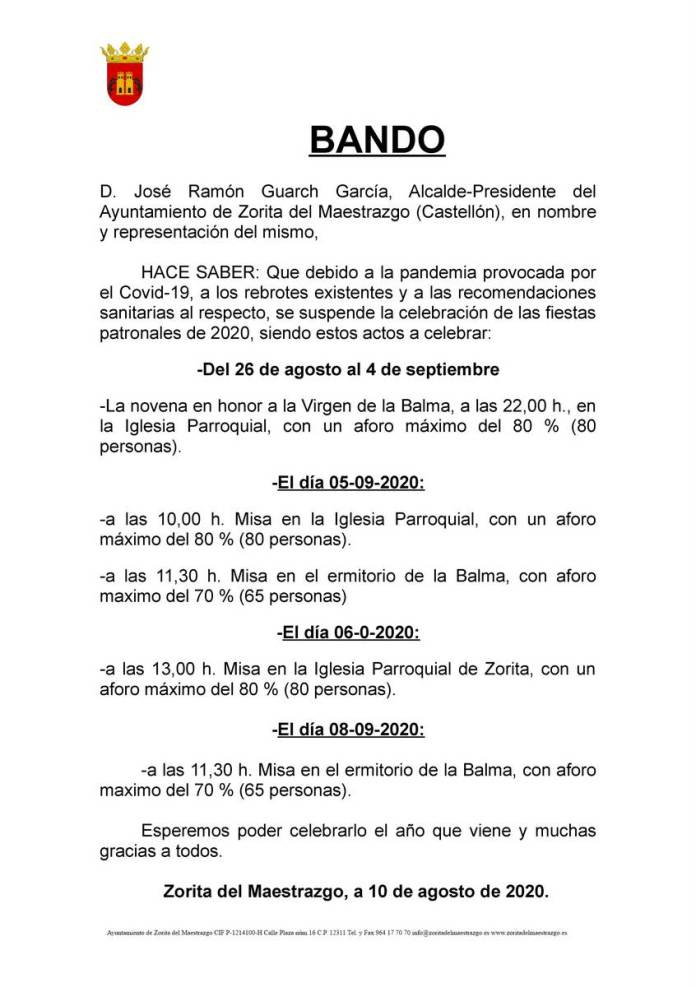 Bando de l'Ajuntament de Sorita