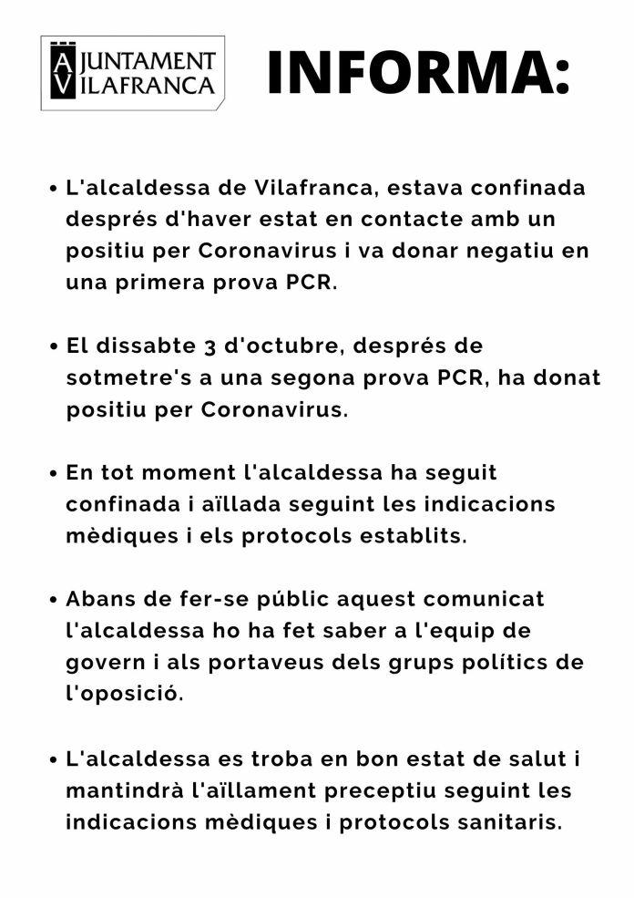 Comunicat de l'Ajuntament de Vilafranca