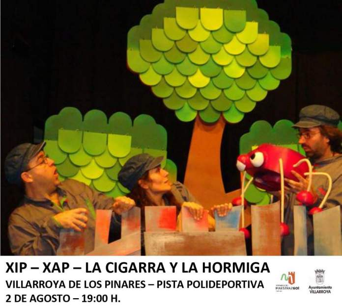 Cartel de La Cigarra y la Hormiga en Villarroya