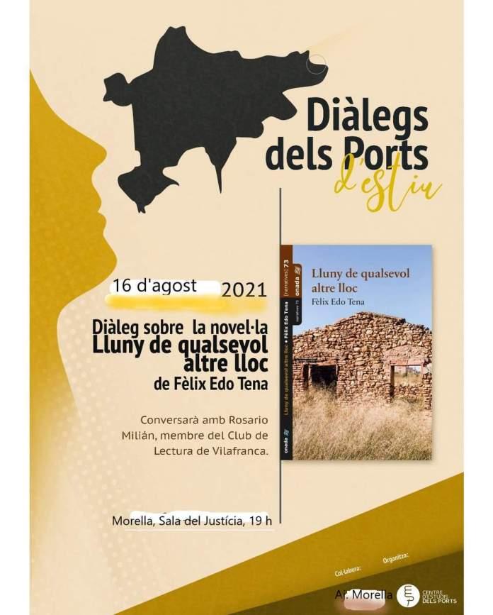 Cartell del Diàleg sobre la novel·la Lluny de qualsevol altre lloc
