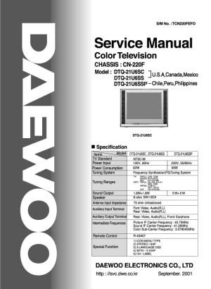 Daewoo Daewoo DTQ 21U6SC Chasis CN 220F pdf Diagramas de