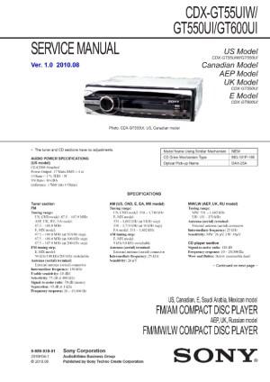 SONY Sony CDX GT55UIW GT550UI GT600UI pdf Diagramas de