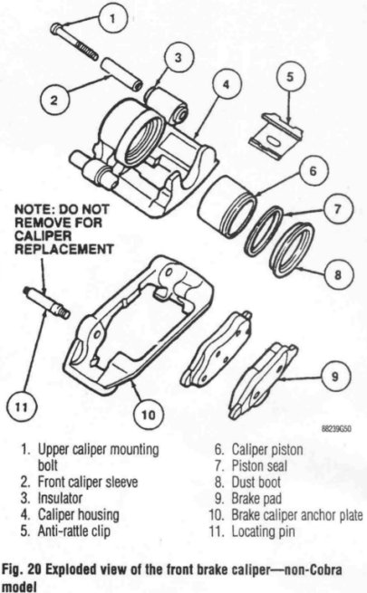 94 98 Mustang Caliper Rebuild Tear Down Diagram