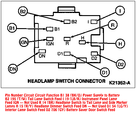 94 95 Mustang Headlight Switch Connector Diagram