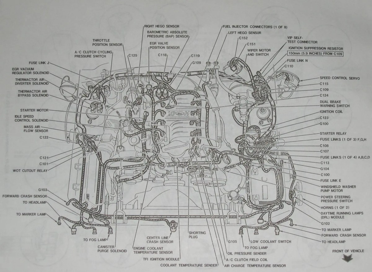 9495 Mustang 50 Detailed Mustang Engine Layout
