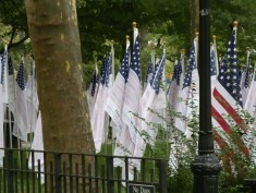 """The """"Flag of Honor"""" contains the names of the nearly 3,000 victims of the attacks. A flag for each victim was displayed in the """"Field of Honor"""" in Battery Park."""