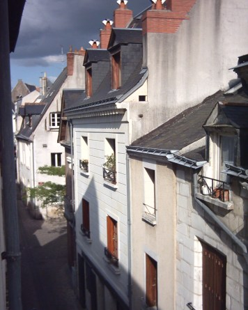 Looking south into the rue de la Grosse Tour from my first room at № 14.
