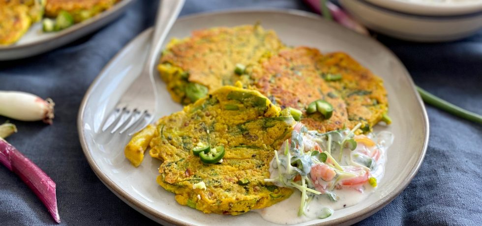 Vegan Chickpea Savory Pancakes with Spinach