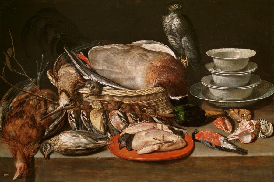 Clara Peeters. Bodegón con gavilán, aves, porcelana y conchas. 1611. Óleo sobre tabla, 52 x 71 cm. ©Museo Nacional del Prado.