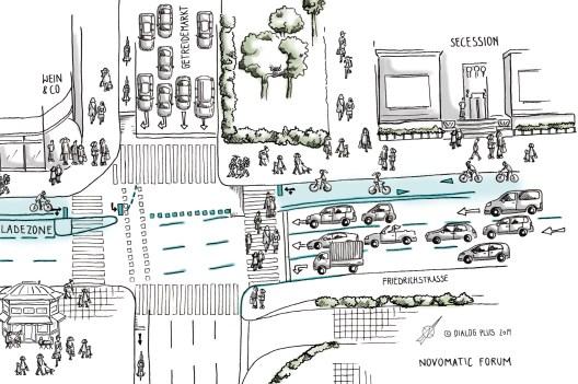 Urban Sketch Lückenschluss Radweg Linke Wienzeile Kreuzungsabschnitt Getreidemarkt