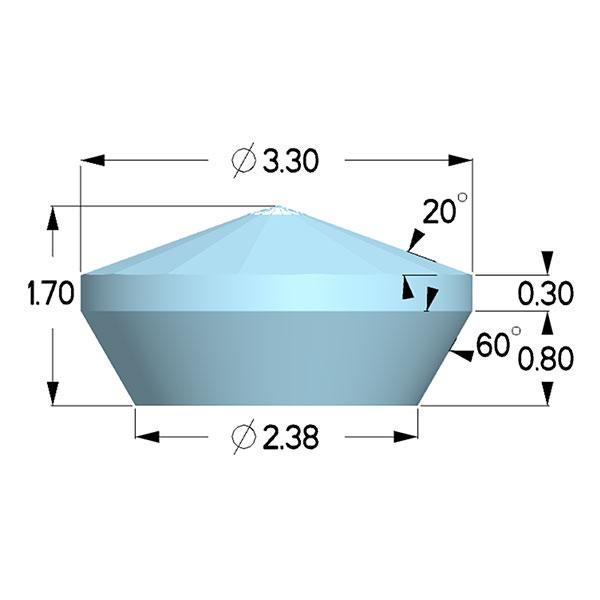 Type 1a; Boehler Almax Design; X=3.30mm, 70deg